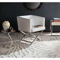 Safavieh Glam Celine White/ Chrome Cross Leg Club Chair