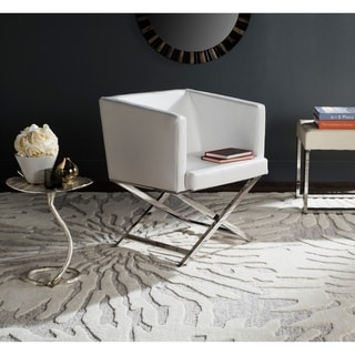 """Safavieh Glam Celine White/ Chrome Cross Leg Club Chair - 23.4"""" x 24.3"""" x 29.4"""""""
