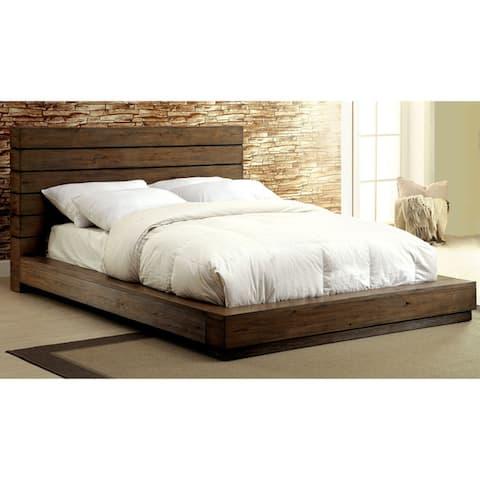 Furniture of America Emallson Rustic 4-piece Natural Tone Low Profile Bedroom Set
