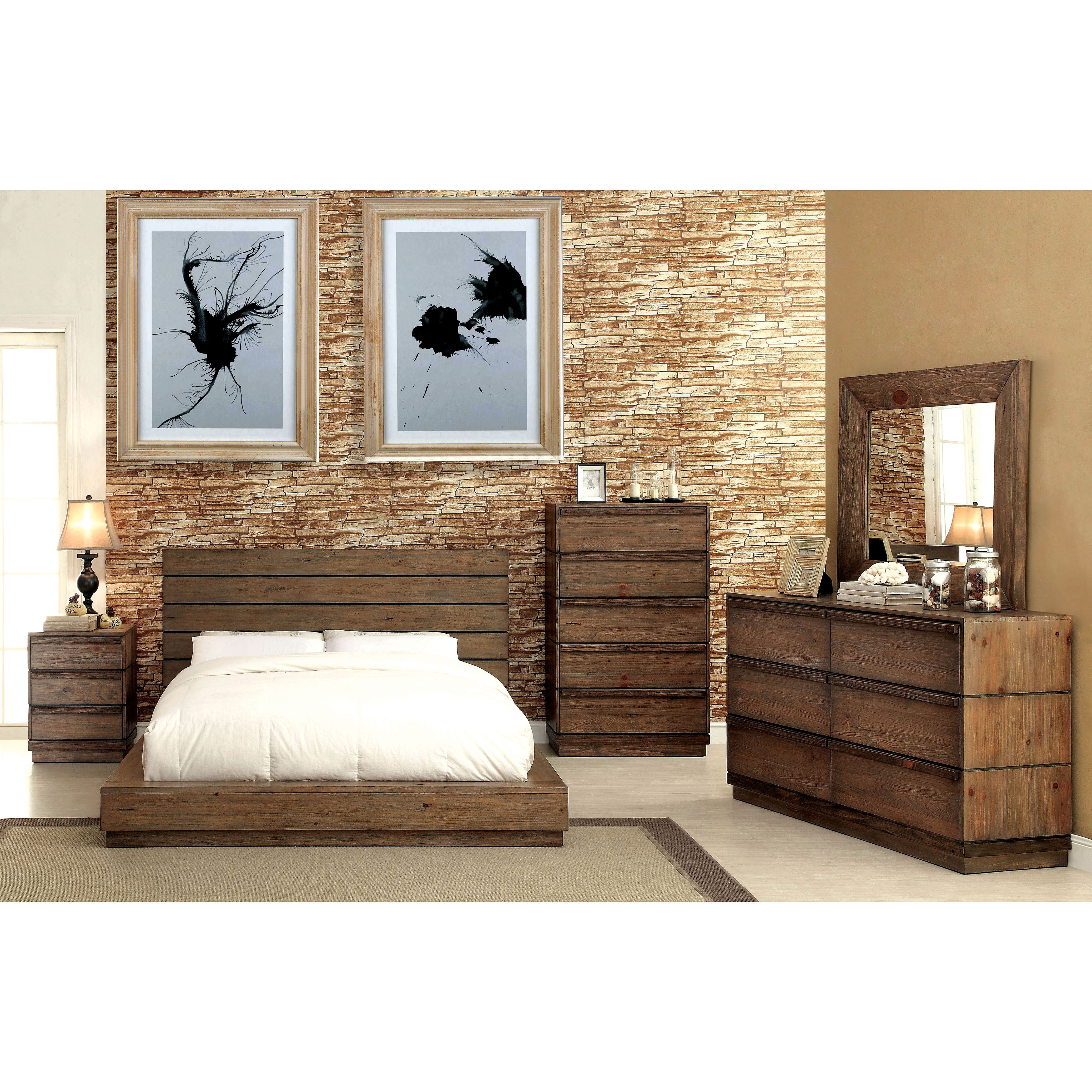 Beau Furniture Of America Emallson Rustic 4 Piece Natural Tone Low Profile  Bedroom Set