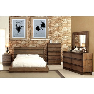Furniture of America Emallson Rustic 4-piece Natural Tone Low Profile Bedroom Set