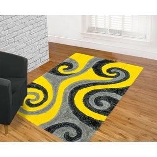 Lyke Home Jumbo Thick Yellow Shag Area Rug (8' x 11')