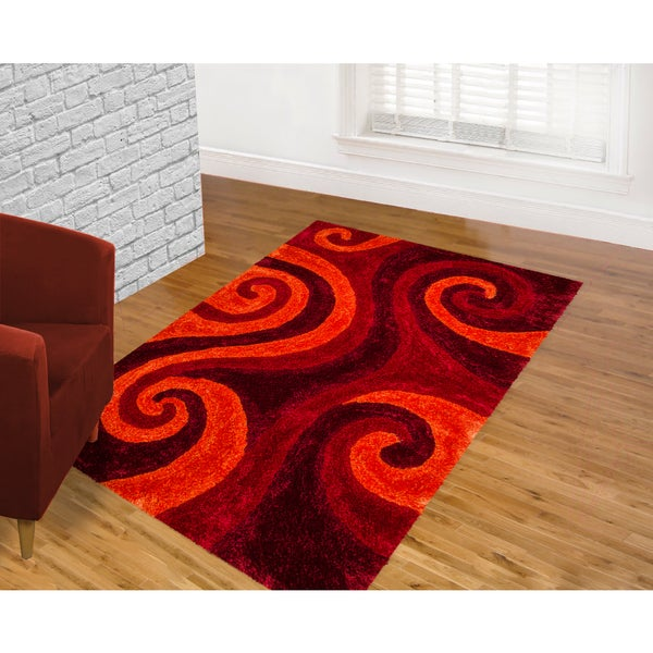 Lyke Home Jumbo Thick Burgundy Shag Area Rug (5' x 7')