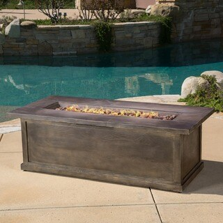 Anchorage Outdoor 56-inch Rectangular Liquid Propane Fire Table with Lava Rock by Christopher Knight Home (2 options available)