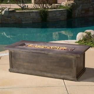 Anchorage Outdoor 56 Inch Rectangular Liquid Propane Fire Table With Lava  Ro By Christopher Knight