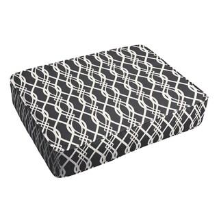 Selena Wavy Black 18 x 29-inch Indoor/ Outdoor Corded Edge Floor Cushion