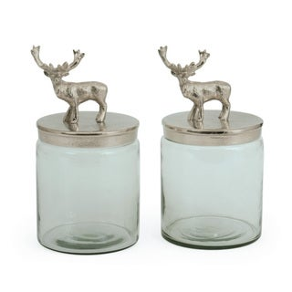 Bambee Brushed Nickel Jars (Set of 2)
