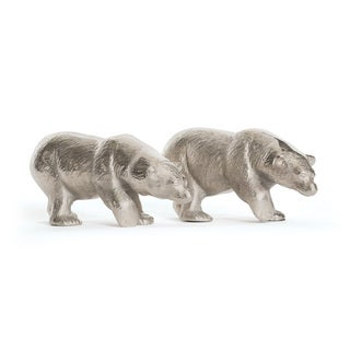 Set of 2 Brushed Nickel Bears