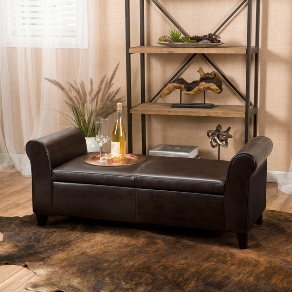 Torino Faux Leather Armed Storage Ottoman Bench By