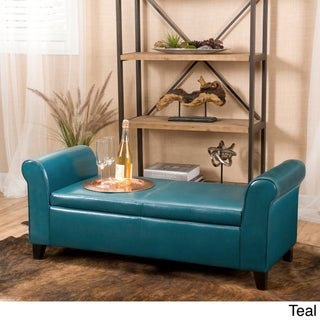 Torino Faux Leather Armed Storage Ottoman Bench by Christopher Knight Home