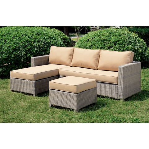 Furniture of America Reah Grey 2-piece Sectional Set with Ottoman
