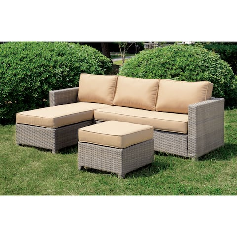 Furniture of America Reah Grey Faux Wicker Rattan Patio Sectional Set