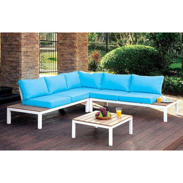 Furniture of America Meila Contemporary 2-piece Two-tone Sectional and Ottoman Set - Free ...