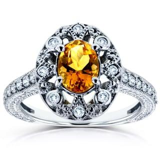 Annello 14k White Gold Oval Citrine and 1/4ct TDW Diamond Ring (H-I, I2)