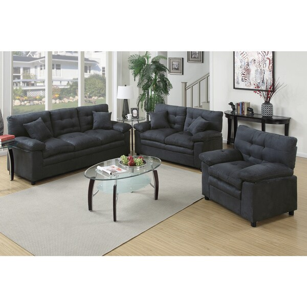 foligno 3 piece living room set upholstered in microfiber free