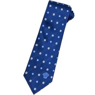 Versace 100-percent Italian Silk Blue/ White Circle Neck Tie