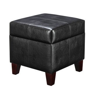 Dorel Living Small Black Storage Ottoman