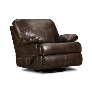 Simmons Upholstery Miracle Bonded Leather Swivel Glider Recliner