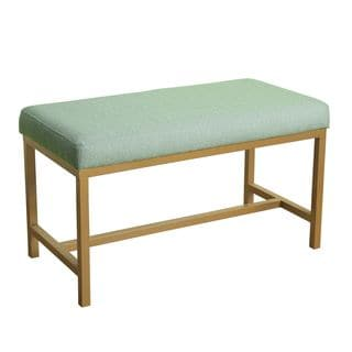 HomePop Long Rectangular Bench with Spa Tweed Herringbone Fabric and Gold Metal Base