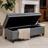 Hastings Tufted Faux Leather Storage Ottoman by Christopher Knight Home