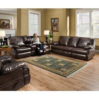 Simmons Upholstery Miracle Bonded Leather Double Motion Console Loveseat