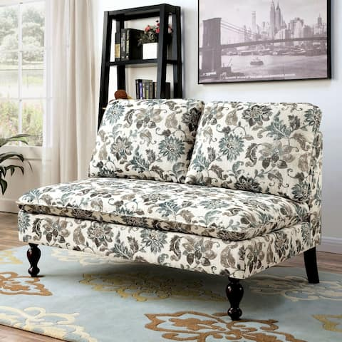 Furniture of America Tave Contemporary Fabric Padded Loveseat Bench