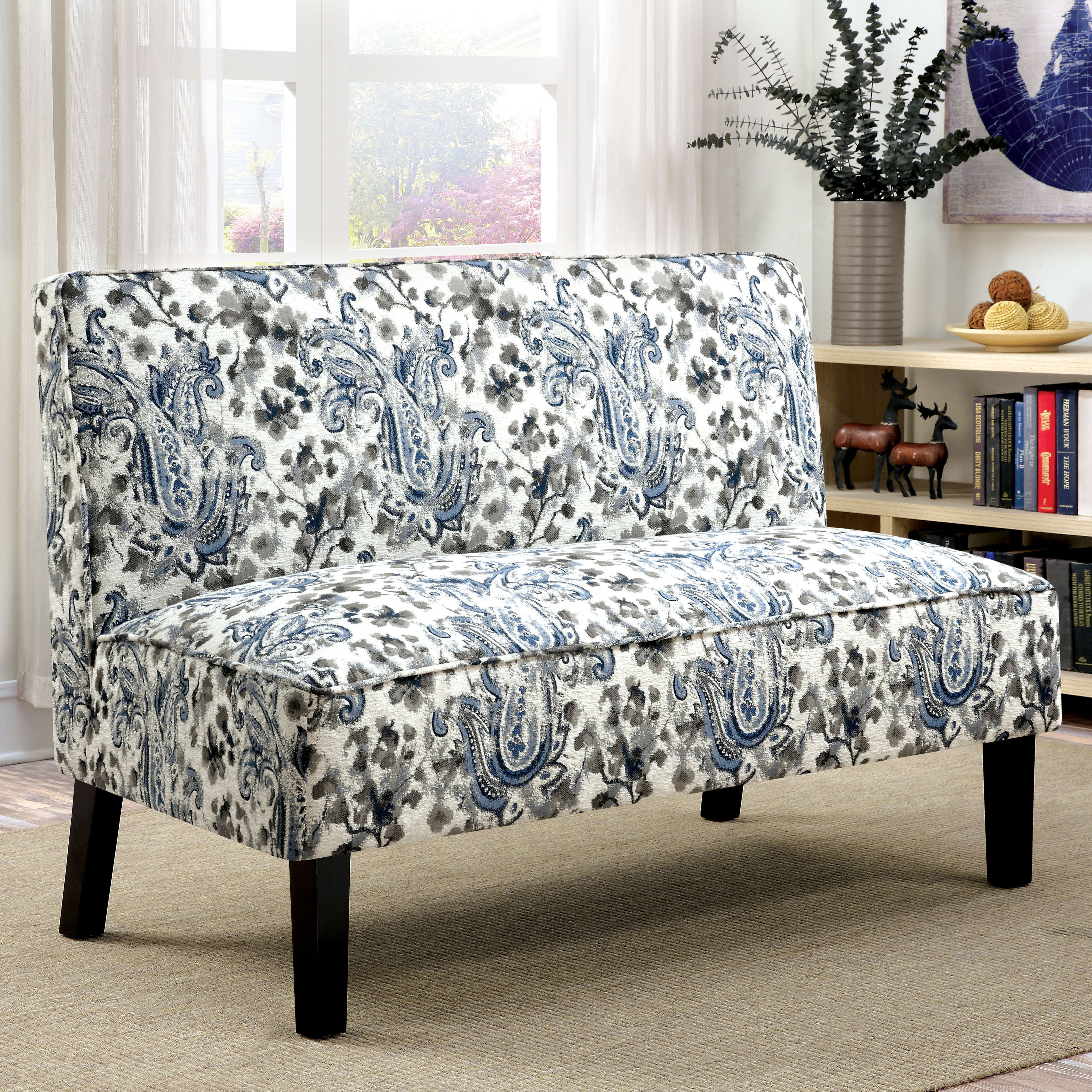 Shop Furniture Of America Corm Modern Floral Fabric Armless