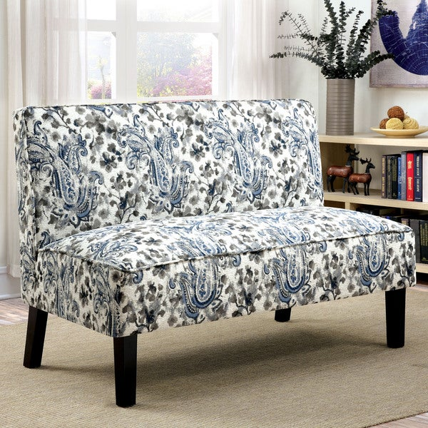 Shop Norma Modern Grey Romantic Floral Armless Loveseat