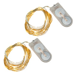 Battery Operated Waterproof Amber Mini String Lights (Set of 2)