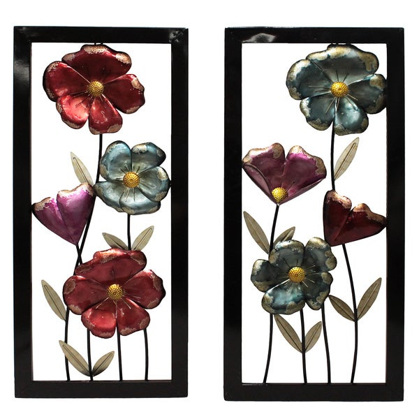 Shop Garden Flowers Framed Metal Wall Decor - Set of 2 - Free ...