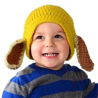 Toddler Puppy Dog Knit Yellow Beanie