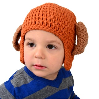 Orange Toddler Puppy Dog Knit Beanie