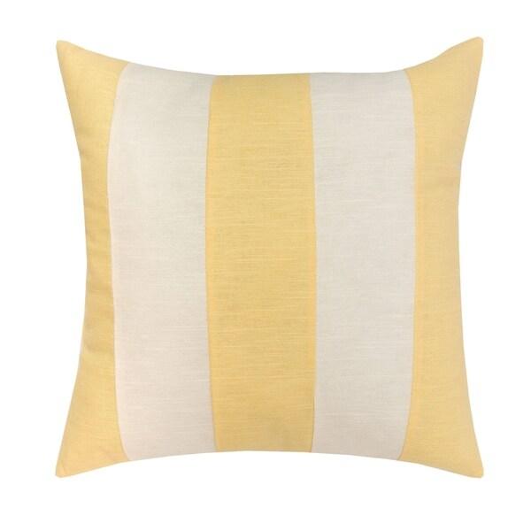 YellowithWhite Stripes 17x17 Throw Pillow