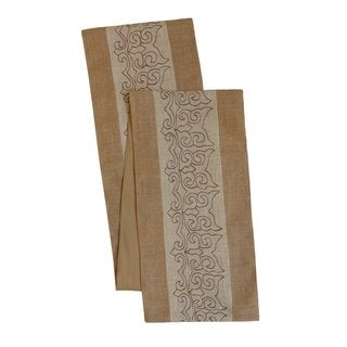 Celebration Scroll Embroidered Jute Table Runner