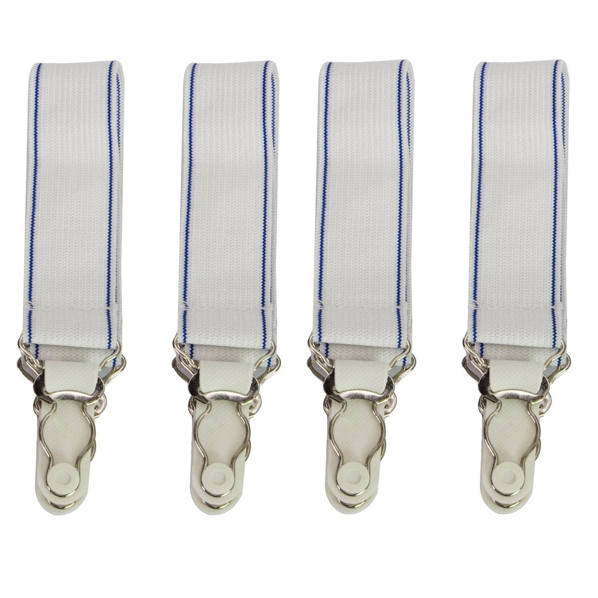Elastic Sheet Straps (Set of 4) (4 pack), White (Syntheti...