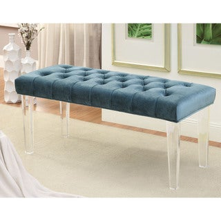 Furniture of America Brissy Contemporary Tufted Flannelette Clear Leg Accent Bench