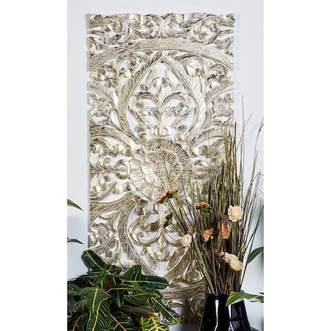 """22"""" x 48"""" Set of 3 Hand-Carved Gold Pine Wood Wall Panels by Studio 350"""