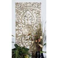 "22"" x 48"" Set of 3 Hand-Carved Gold Pine Wood Wall Panels by Studio 350"
