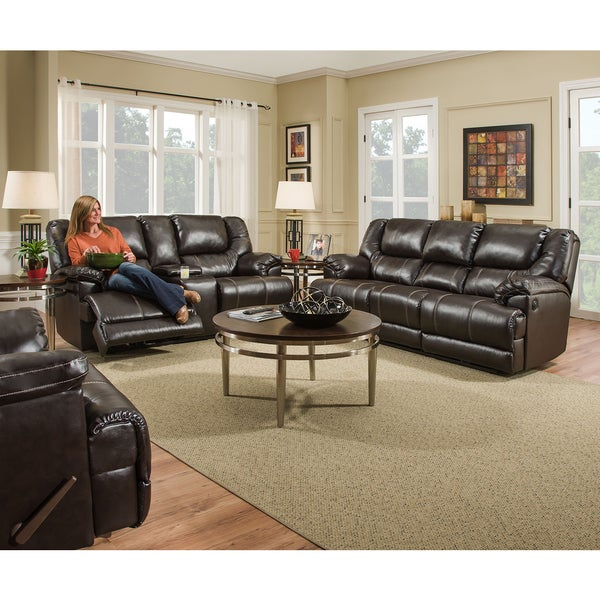 Simmons Upholstery Bingo Brown Motion Loveseat. Opens flyout.