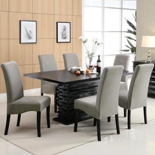 Modern Black Dazzling Wave Design Grey Upholstered Dining Set