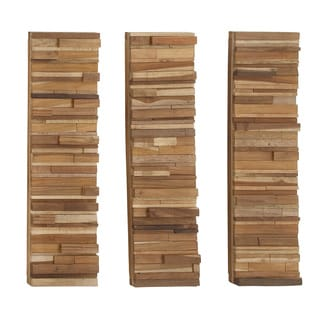 """Three In One Natural Set Of 3 Wood Block Panel 10""""W, 35""""H"""