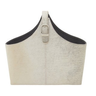 "Leather Hide Magazine Holder 17""W, 15""H"