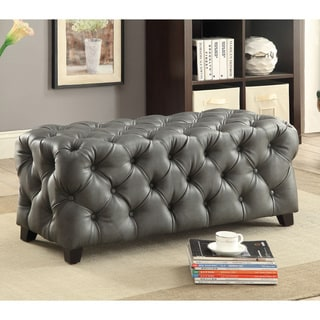Furniture of America Karlie Contemporary Rectangular Tufted Bonded Leather Ottoman