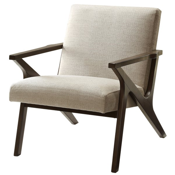 Baxton Studio Carter Mid-Century Modern Retro Grey Fabric Upholstered  Leisure Accent Chair in Walnut Wood Frame