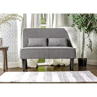 Furniture of America Amirsa Modern Upholstered Armless Loveseat Bench