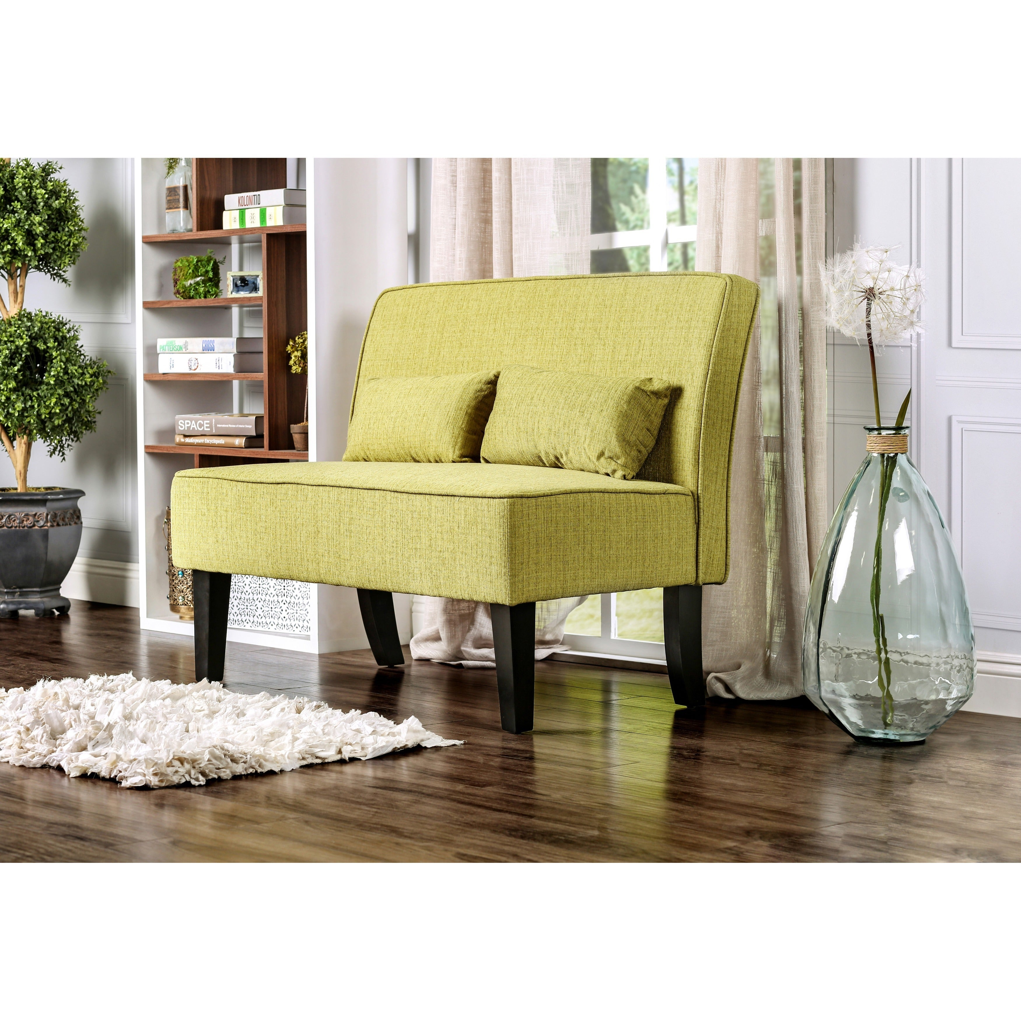 Furniture of America Amirsa Modern Upholstered Armless Loveseat