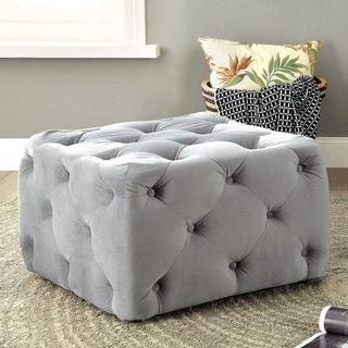 Furniture of America Percie Contemporary Tufted Flannelette Square Ottoman