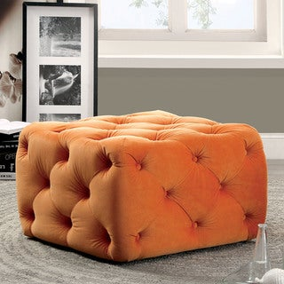 Furniture of America Percie Contemporary Tufted Flannelette Square Ottoman