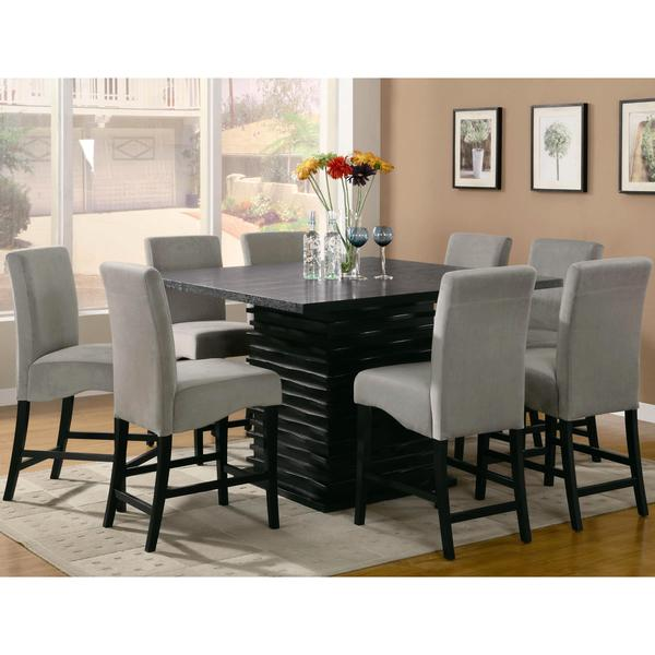 Delightful Bass Modern Black Dazzling Wave Design Grey Upholstered Counter Height Dining  Set Nice Look