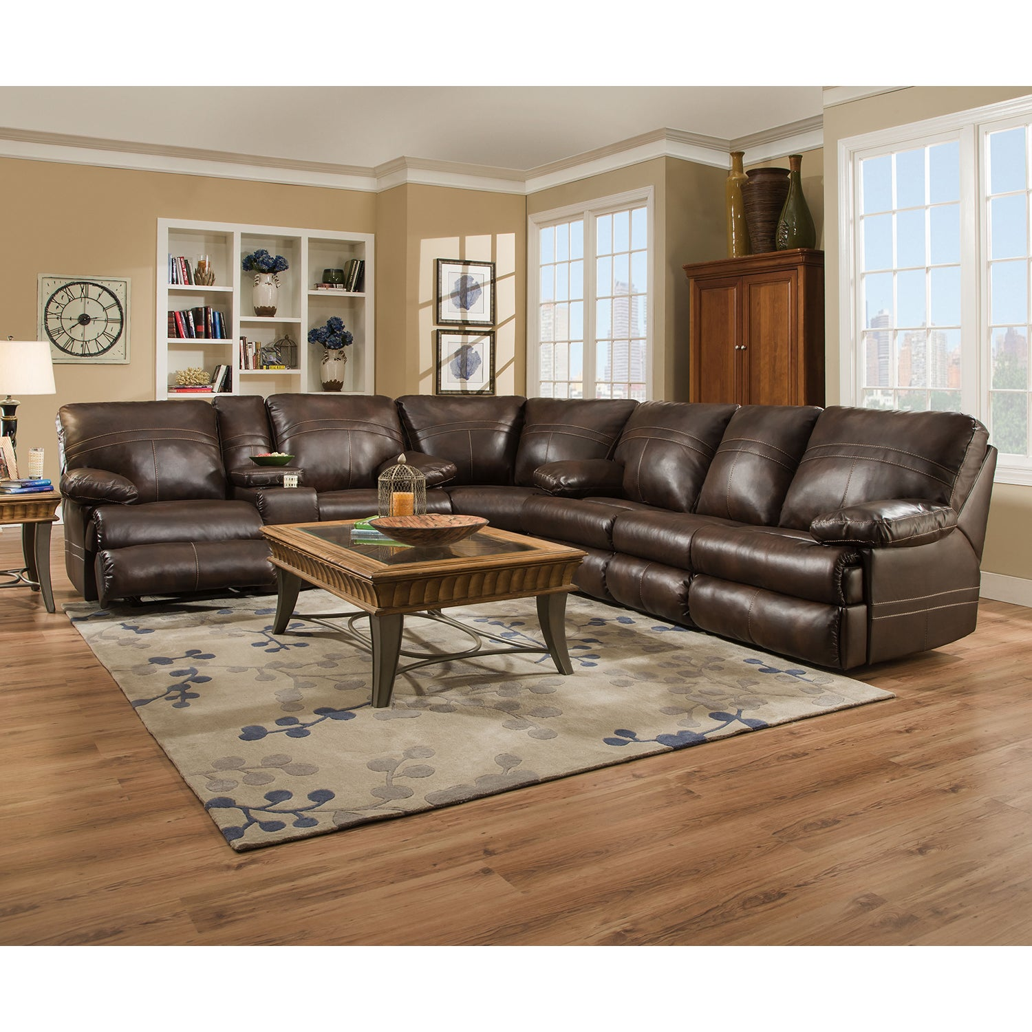 Simmons Upholstery Miracle Saddle Full Motion Sectional (...